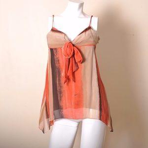 BCBGMaxAzria tank top orange bow tie Silk size 4